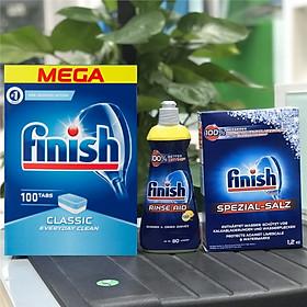 Combo Viên rửa bát Finish Classic 100 viên + Muối Finish 1.2kg + Nước làm bóng Finish 400ml