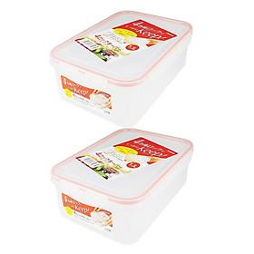 Combo 02 hộp thực phẩm chữ nhật inomata 1300ml hàng nội địa Nhật Bản