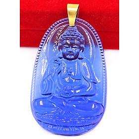Mặt dây chuyền Phật Bản Mệnh 12 Con Giáp Pha Lê Xanh Dương móc inox vàng - Mang lại may mắn, bình an