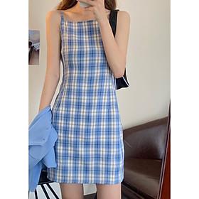 Đầm 2 dây kẻ caro dây chất đẹp quai váy điều chỉnh được độ dài, có nơ thắt lưng điều chỉnh vòng eo freesize<53kg