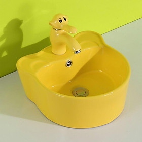Bộ chậu rửa tay trẻ em hình tai gấu, kèm vòi lavabo hình con voi, màu vàng
