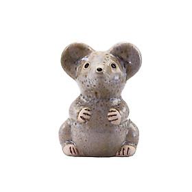 Chuột men bông nhạt, nhỏ – tượng gốm sứ trang trí hình động vật