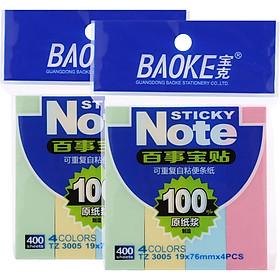 Bộ 2 Xấp Giấy Note 4 Màu Baoke 3005 - 19 x 76 mm/ 1 Màu (400 sheets/Xấp)