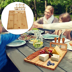 Bamboo Cheese Board with Knife Meat Platter Serving Tray Gifts for Christmas