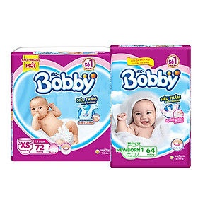 Combo Miếng lót Bobby Fresh Newborn 1-64 và Tã Dán siêu thấm Bobby XS72