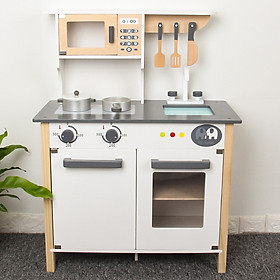 Bộ đồ chơi nhà bếp bằng gỗ màu trắng