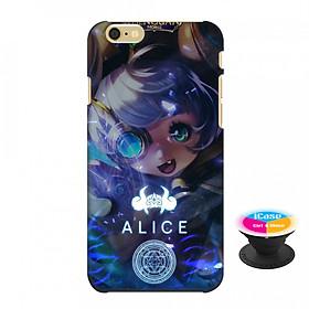Ốp lưng nhựa dẻo dành cho iPhone 6 in hình Alice - Tặng Popsocket in logo iCase - Hàng Chính Hãng