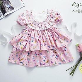 Váy đầm công chúa bé gái 2 tầng họa tiết hoa bướm siêu xinh cho bé từ 6kg đến 20kg( màu hồng)