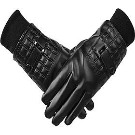 Găng tay da nam chống nước chống bong tróc cảm ứng điện thoại lót lông cực ấm