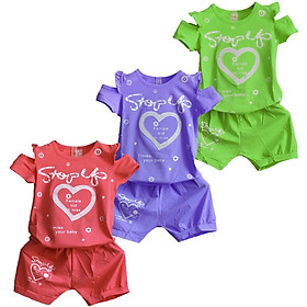 Combo 3 Bộ quần áo bé gái từ 8kg đến 35kg,vải cotton 100% mềm mại 4 chiều, thấm hút mồ hôi tốt, áo trễ vai,hình trái tim dễ thương ( Giao màu ngẫu nhiên )