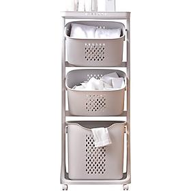 Giá, kệ plastic 4 tầng (3 GIỎ + 1 NẮP) mã 5567 đựng đồ cho bé, đồ nhà tắm có thể tháo rời, khung xe chắc chắn, 4 bánh xe quay 360 độ