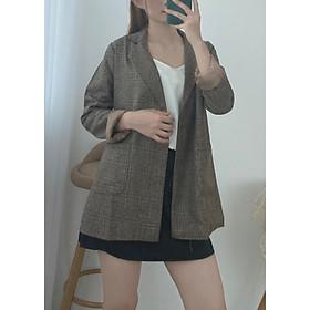Áo Blazer Vest Nữ Kẻ Dạ Mỏng 2 Lớp Freesize53kg - A.050