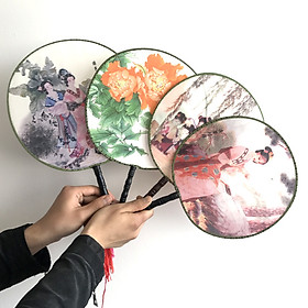 Quạt tròn họa tiết cổ trang Trung Quốc