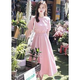 Đầm hồng cổ tròn bo eo form dài