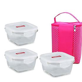 Set 3 Hộp thủy tinh vuông 500ml Lock&Lock đựng cơm văn phòng tặng túi giữ nhiệt chấm bi hồng