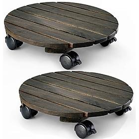 Combo 2 đế lót chậu cây có 4 bánh xe - tròn màu đen