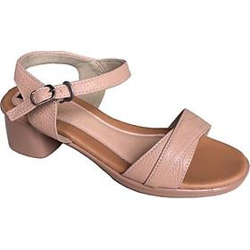 Giày sandal nữ Trường Hải quai ngang da bò thật  màu hông phấn cao 5cm gót vuông  đế PU siêu nhẹ   SDN0885 HÌNH ẢNH THẬT