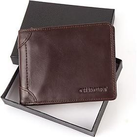 Ví bóp nam da bò  Chakovet CKV288, kiểu ví dáng ngang có cánh lật, ngăn đựng tiền có khóa kéo nhiều ngăn nhỏ tiện lợi đựng được GPLX loại cũ