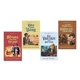 Combo sách : Hai vạn dặm dưới đáy biển +80 ngày vòng quanh thế giới + Đảo giấu vàng + Những cuộc phiêu lưu của Sherlock Holmes