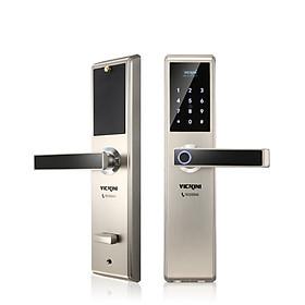 Khóa cửa điện tử VICKINI 39888.001 MSN ken xước mờ. Mở bằng vân tay/ mật mã/ thẻ từ/ chìa cơ. Hàng chính hãng