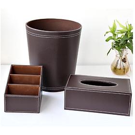 Bộ đồ dùng cao cấp  : Hộp giấy ăn, thùng rác và khay cắm bút