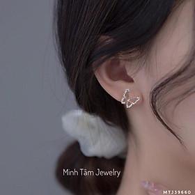Bông tai bạc cánh bướm xinh đẹp, Bông tai bạc nữ hình cánh bướm bạc 925 cao cấp-Minh Tâm Jewelry