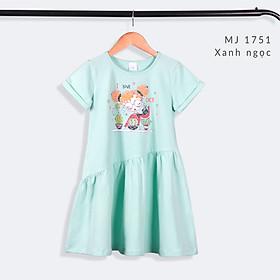 Váy Bé Gái 14-38 kg MEEJENA Đầm Bé Gái Ngắn Tay Họa Tiết Vải 100% COTTON 4C - 1751