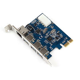 Stable Efficient PCI-E 3-port USB3.0 External + Gigabit Network Interface Expansion Card with 4PIN Power Supply Interface