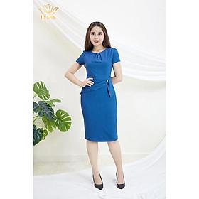Đầm Thiết kế Đầm xòe Đầm thời trang công sở Đầm trung niên thương hiệu TTV338 xanh cổ vịt  - Đầm ôm cổ xếp li eo đính ngọc AH