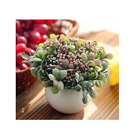 Hoa quả giả, chậu cỏ giả điểm nụ hoa nhí để bàn, kệ tủ trang trí nhà cửa nhiều mẫu đẹp