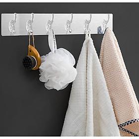 Thanh Móc Treo Đồ 6 Móc Siêu Dính Dán Tường Nhà Tắm, Nhà Bếp, Tủ Quần Áo - Tặng dây nâng nắp bồn cầu silicon