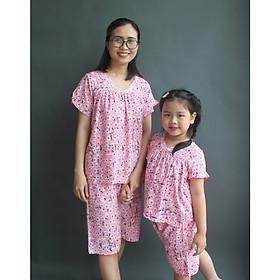 Đồ bộ tôn mẹ và bé gái vải lanh thoáng mát