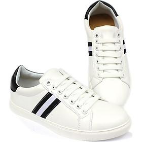 Giày Sneaker Thể Thao Nam Thời Trang Màu Trắng  Phối 3 Sọc, Gáy Đen  Cá Tính Da Đẹp Cao Cấp Phong Cách Hàn Quốc Đế Cao 2 Cm YNGNSNEAKER05