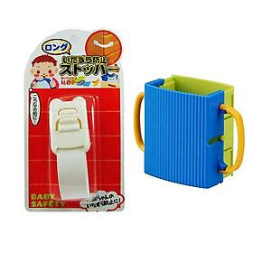 Combo Khóa ngăn kéo, tủ lạnh trẻ em (mẫu mới) + Giá đựng hộp sữa có quai cầm cho bé nội địa Nhật Bản