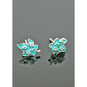 Bông tai bạc họa tiết lá phông xanh đầy nữ tính - trang sức bạc thái 925
