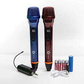 Bộ 2 Micro Karaoke Không Dây Siêu Sang MV08, Vỏ Đuôi Mic Bằng Hợp Kim Chống Rơi Vỡ, Chuyên Dùng Cho Amply, Loa Kéo, Kết Nối Xa Tới 30m Qua Đầu Thu Mini - Chính Hãng