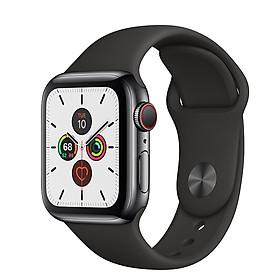 Đồng Hồ Thông Minh Apple Watch Series 5 LTE GPS + Cellular Stainless Steel Case With Sport Band (Viền Thép & Dây Cao Su) - Hàng Chính Hãng VN/A