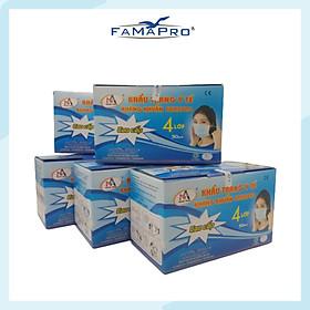 [CHÍNH HÃNG] COMBO 5 HỘP - Khẩu trang y tế kháng khuẩn 4 lớp Famapro (50 cái/ hộp)