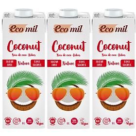 [Lốc 3 hộp] Sữa Dừa Không Đường Hữu Cơ Ecomil (1L) - Organic Coconut Milk Sugar Free (1L)