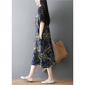 Đầm suông trung niên họa tiết LAHstore, chất thô mềm mát thích hợp mùa hè, phong cách Hàn Quốc (Xanh than họa tiết vàng)