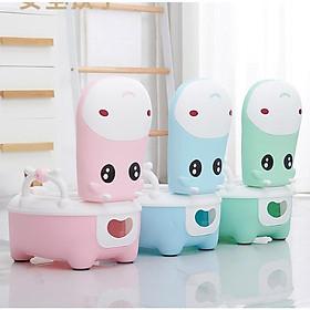 Bô vệ sinh cao cấp cho bé hình hà mã đáng yêu (tặng bàn cọ rửa)