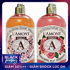 Combo Sữa Tắm L'amont En Provence Cherry Blossom Shower Gel Hương Hoa Anh Đào + Hoa Hồng (500ml / Chai)