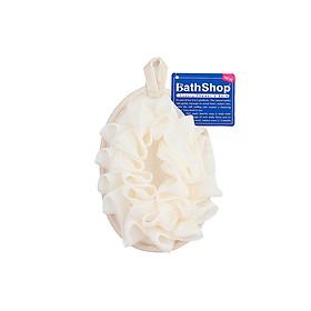 Miếng tắm 2 mặtlưới và cotton siêu mềm Bathshop có dây đeo tay thun 40g, giao màu ngẫu nhiên