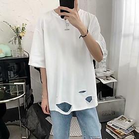 2 color【M-5XL】Fashion Breathable hole Short sleeve T-shirt Men Personality  student short T-shirt unisex T-shirt Summer new style Oversize