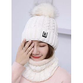 Mũ len nữ kèm khăn lót nỉ phong cách Hàn Quốc