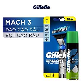 Dao Cạo Râu Gillette Mach3 Turbo Và Bọt Cạo Râu Hương Chanh Chai 75G