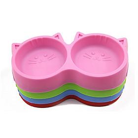 Bát nhựa đôi đựng thức ăn nước uống cho chó mèo, thú cưng (Màu ngẫu nhiên)