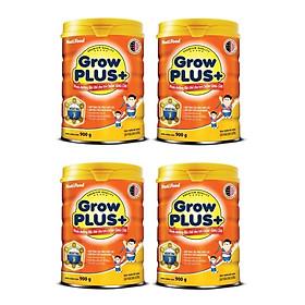 Bộ 4 Lon Sữa bột NutiFood Grow Plus+ cho trẻ chậm tăng cân 900g