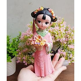 Tượng chibi thiếu nữ cổ trang bên hoa 3D sinh động (02 mẫu)