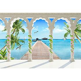 Tranh cửa sổ 3d| Tranh dán tường cửa sổ phong cảnh 3d 30